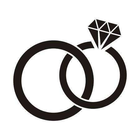 Illustration black wedding rings icon on white background