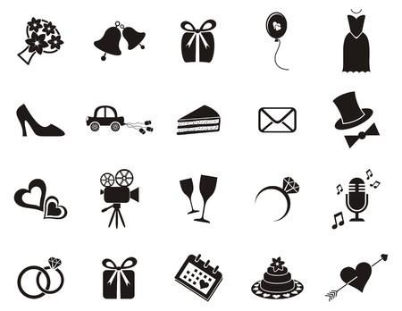 Foto de Set of black silhouette icons for wedding invitations - Imagen libre de derechos