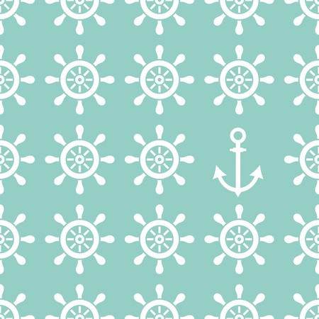 Seamless nautical pattern made of helms and anchor