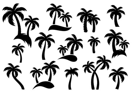 Illustration for Vector palm tree silhouette icons on white background - Royalty Free Image