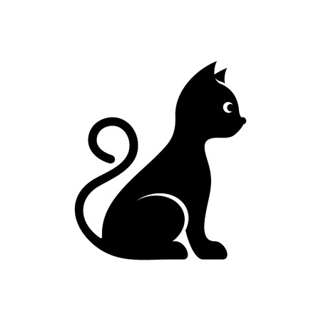 Cute black vector cat icon isolated on white
