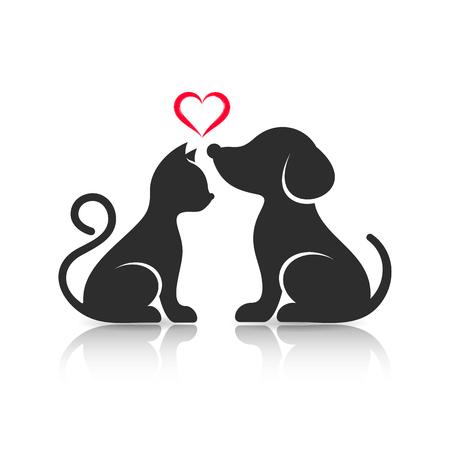 Illustration pour Cute cat and dog silhouettes with reflection - image libre de droit
