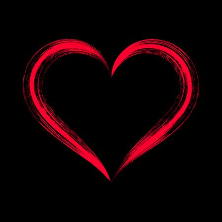 Red stylized brush strokes heart on black