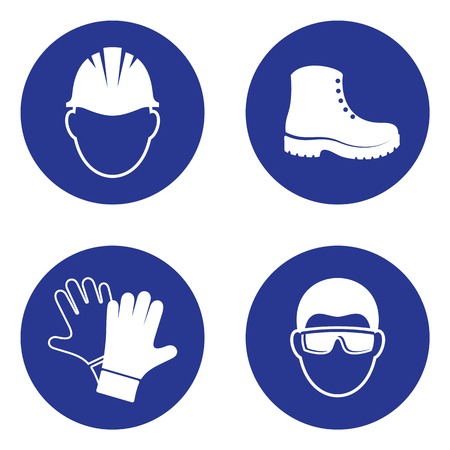 Illustration pour Simple mandatory health safety signs industrial applications set - image libre de droit