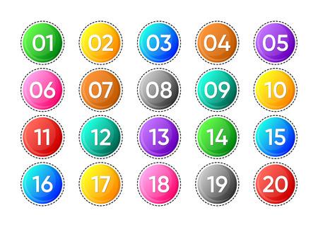 Illustration pour Twenty colorful vector numbers icons on white background - image libre de droit