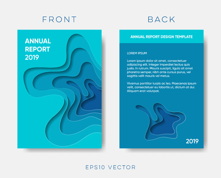 Illustration for Annual report cover vector paper cut design - Royalty Free Image