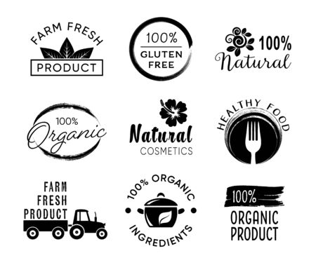 Illustration pour Vector healthy food and organic products labels - image libre de droit