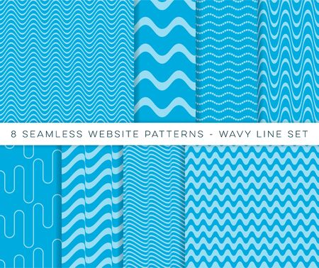 Illustration for Blue vector seamless website wavy line patterns - Royalty Free Image