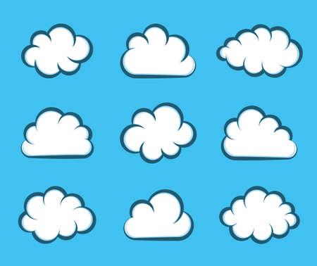 Illustration pour White vector cartoon clouds on blue background - image libre de droit