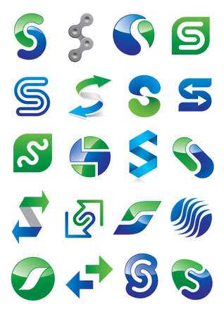 Abstract Letter S - Different Icon Design Set