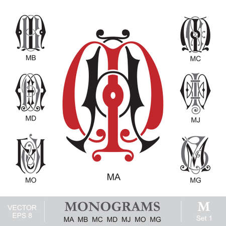 Vintage Monograms MA MB MC MD MJ MO MG