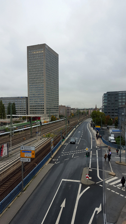 a wide angle view on the main street in frankfurt am main photographed during a sightseeing tour in frankfurt am main germany with wide angle lens