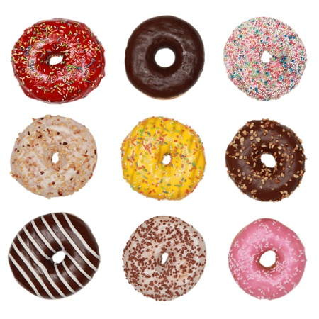 Collection of many colored donuts isolated on white