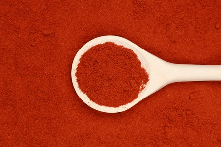 A wooden spoon lies on paprika powder forming a background