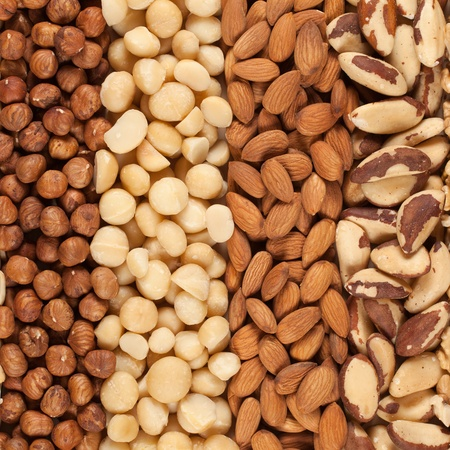 Collection of different nuts forming a background