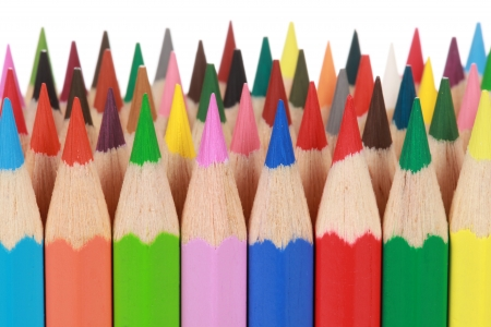 Collection of colored pencils in a row