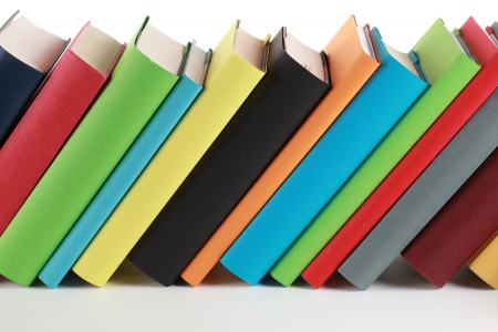 Colorful books with lots of copyspace for your own text on the book spines