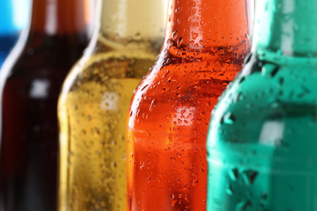 Soda drinks with cola, soft drinks in bottles