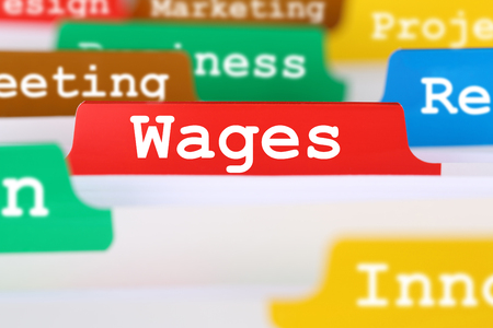 Employee wages and salary financial business concept register in documents