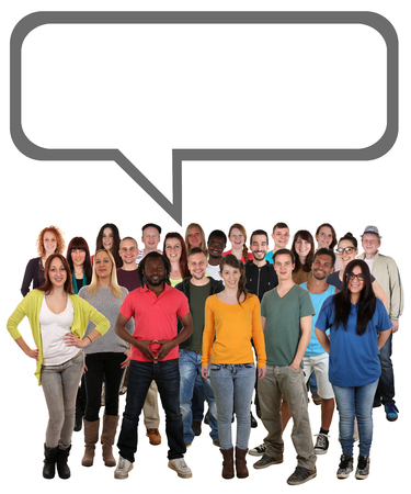 Happy multi ethnic group of smiling young people talking with speech bubble and copyspace