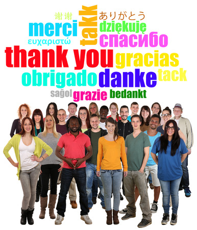 Large multi ethnic group of smiling young people saying thank you in different languages