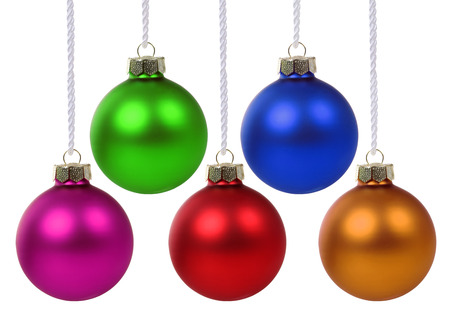 Colorful Christmas balls hanging isolated on a white background
