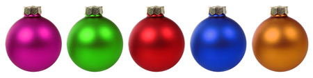 Colorful Christmas balls baubles in a row isolated on a white background