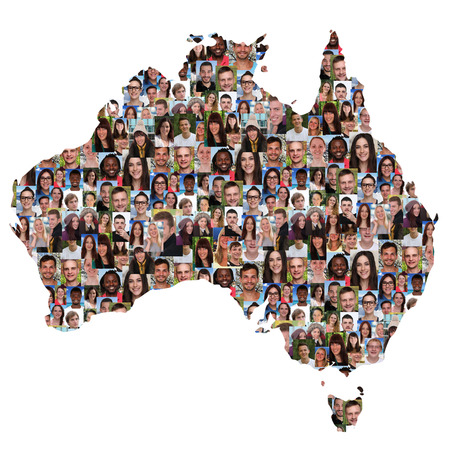 Australia map multicultural group of young people integration diversity isolated