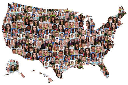 Photo pour USA map multicultural group of young people integration diversity isolated - image libre de droit