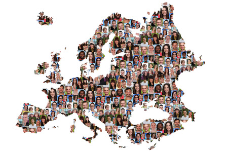 Europe map multicultural group of young people integration diversity isolated