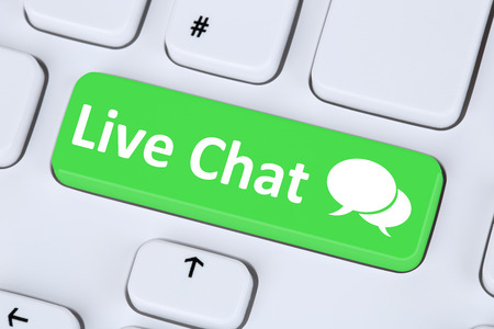 Live Chat contact communication service symbol information on computer keyboard