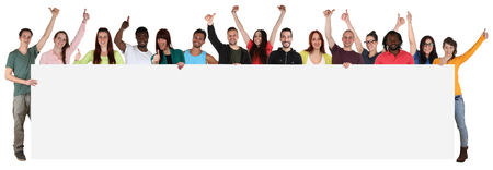 Photo pour Large group of happy young multi ethnic people holding empty banner with copyspace - image libre de droit