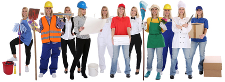 Group of workers professions women professionals standing occupation career isolated on a white background