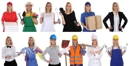 Group of workers professions women business portrait portraits career isolated on a white background