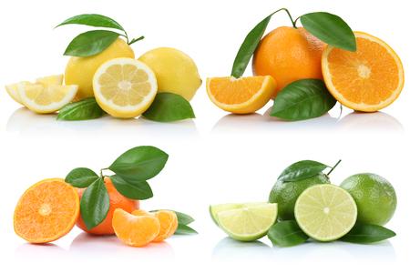 Foto de Collection of oranges mandarins lemons fruits isolated on a white background - Imagen libre de derechos