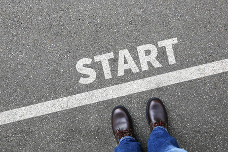 Start starting running race begin beginning businessman business man concept career goals motivation vision