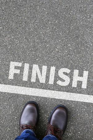 Photo pour Finish line winning success running race business concept career goals motivation vision - image libre de droit