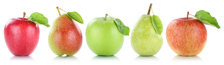 Photo for Apple pear fruit apples pears fruits in a row isolated on a white background - Royalty Free Image