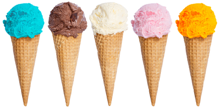 Photo pour Collection of ice cream scoop sundae cone in a row icecream isolated on a white background - image libre de droit