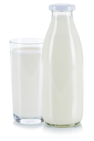 Photo for Fresh milk glass and bottle isolated on a white background - Royalty Free Image