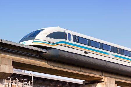 Photo pour Shanghai, China – September 27, 2019: Shanghai Transrapid Maglev magnetic levitation train Longyang Road station in China. - image libre de droit