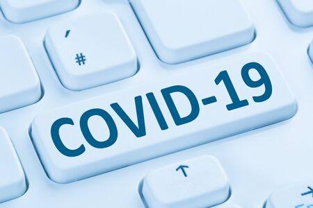 Photo for COVID-19 COVID Coronavirus corona virus infection disease ill illness computer keyboard internet - Royalty Free Image