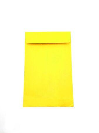 Photo pour Yellow paper envelope on white background - image libre de droit
