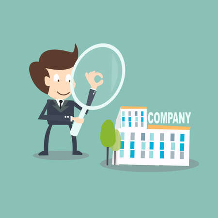 Internal Auditing concept - businessman  with magnifying audit  on company
