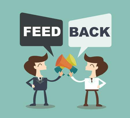 Illustration pour Feedback concept - businessman talk feedback Speech Bubble - image libre de droit