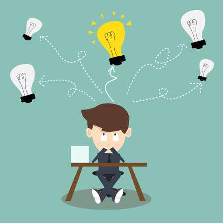 Illustration pour Thinking businessman making decision and have an idea. He looking up Light bulbs - image libre de droit