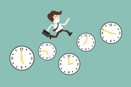 time management Concept, With Cartoon Businessman running on time