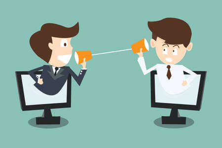 two businessman talking with cup telephone in computer via internet