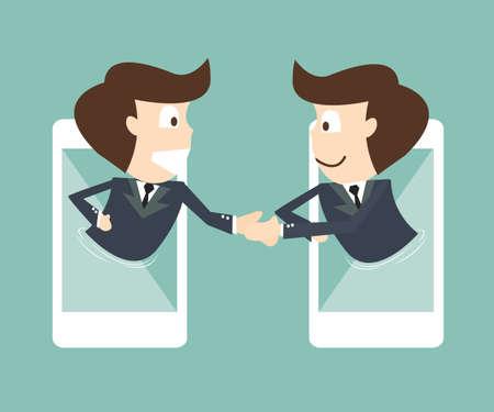 Illustration pour communication of businessman on mobile smartphone - image libre de droit