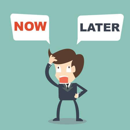 Illustration pour businessman hesitate select choice  Now or  Later - image libre de droit